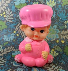 Vintage Pink Rubber Doll  IWAI Collectible by Iprefervintage