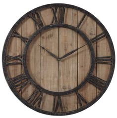 very large 30 inch powell wall clock buy this handsome rustic clock at lights in - Large Decorative Wall Clocks