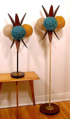 SUPERB Vtg RETRO 1960s Mcm MAJESTIC Era Floor LAMP w/3 SPAGHETTI Lucite SHADES