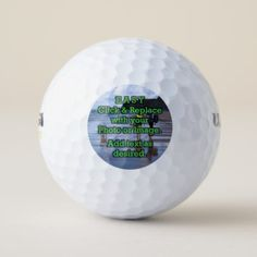 Easy Click & Replace Image to Create Your Own Golf Balls - business logo cyo personalize customize diy special