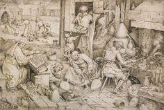 Pieter Bruegel the Elder, The Alchemist, Pen and ink. bpk / Kupferstichkabinett, SMB / Jörg P. Der Alchemist, Pieter Bruegel The Elder, Old Master, Puzzle Pieces, 16th Century, Vintage World Maps, Ink, Fine Art, Statue