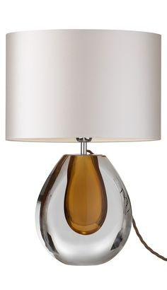 Table Lamps, Designer Amber Brown Perfume Bottle Art Glass Lamp, at InStyle Decor Beverly Hills Hollywood Luxury Home Decor