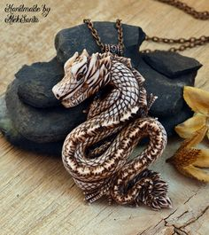 Dragon pendant Polymer clay jewelry Dragon necklace Polymer clay pendant Ivory dragon Large pendant Jewelry for women Dragon jewelry Dragon