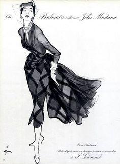 Pierre Balmain 1952, illustrated by René Gruau