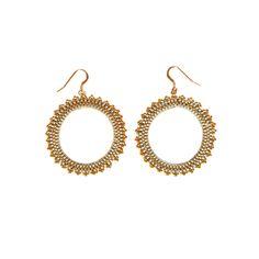Boucles plaqué or en perles miyuki - Boucles Inti créoles plaqué or et perles…