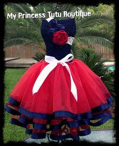 4th of July girls tutu dress patriotic girls dress ribbon tutu dress F... MyPrincessTutuBoutiq $65.00 USD