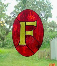 Letter F Initial CUSTOM Stained Glass Suncatcher Pick Your Own Colors via Etsy