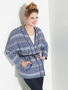 Veste kimono jacquard JACQUARD BLEU / BLANC