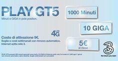 PLAY GT5 la nuova offerta limitata di Tre che offre 1000 minuti e 10GB a soli 5. Disponibile anche iPhone 7 a 23 al mese