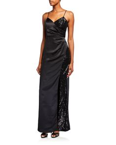 Parker Black Cristy Sequin Satin Combo Gown In Black Parker Black, Combo Dress, Aidan Mattox, Satin Dresses, Neiman Marcus, Evening Gowns, Luxury Fashion, Sequins, Clothes For Women