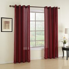 Two Panels Classic Red Solid Sheer Curtain AUD 4245