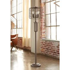 Functional art industrial floor lamp industrial lamp industrial industrial cage 65 high metal floor lamp with edison bulbs aloadofball Choice Image