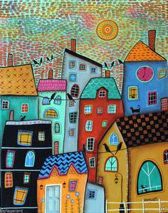 Watchful Eyes CANVAS Landscape PAINTING 16x20 inch FOLK ART Abstract Karla G..#FolkArtAbstractPrimitive