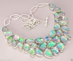 K81 SHINY RAINBOW FIRE TRIPLET OPAL QUARTZ .925 STERLING SILVER PLATED NECKLACE #Handmade #Chain