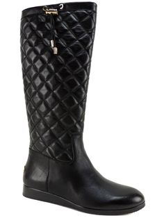 Michael Kors Women's Lizzie Quilted Boots Black Leather Size 6 (B, M) #MichaelKors #KneeHighBoots #Dress