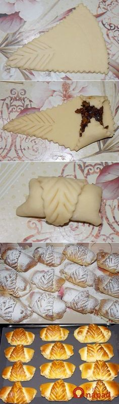 the pretty little pastry envelope could be filled with any filling of choice.This says:Con formas de hojas Decoration Patisserie, Food Decoration, Pastry Design, Bread Shaping, Bread Art, Bread And Pastries, Sweet Bread, Creative Food, Food Presentation