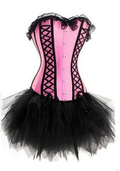 Hot sexy Pink Corset Overbust Desossado Bustier Lace Up Basco espartilhos Shapewear rendas tutu saia preta + G-string terno