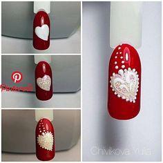 Regran_ed from nail_suny - yulja_k # # # # # Valentine Nail Art, Holiday Nail Art, Valentine Nail Designs, Xmas Nails, Christmas Nails, Cute Nails, Pretty Nails, Valentine's Day Nail Designs, Nails Design
