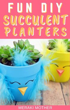 Have house plants taken over your home? Get the kids to make them more exciting with these colorful chick succulent planter DIY activity. #planters #houseplants #indoorplants #diykids #homehacks #activitiesforkids