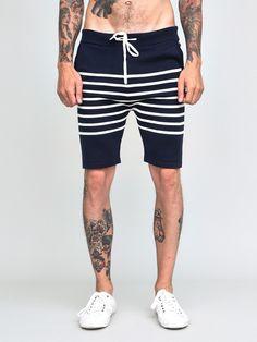 Jesse Knit Stripe Shorts Navy
