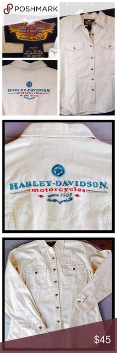 Harley Davidson Monogrammed Lg button down MINT Harley Davidson motorcycle long sleeve  large button down a cowgirl 100% cotton Rugged long sleeve motorcycle shirt silver buttons 28 inches from the collar to the bottom button this up. You definitely have you duded  for being the Queen of the Road! NWOT been showroom. Harley-Davidson Tops Button Down Shirts