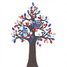 Behangboom blauwtinten met Uiltjes voor de Kinderkamer of Babykamer. -Dreumes enZo Kinderwinkel