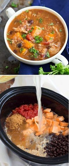 Slow Cooker) Sweet potato, chicken, and quinoa soup
