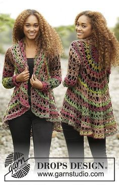 Nordic Mart - DROPS design one-stop source for Garnstudio yarns, free crocheting and knitting patterns, crochet hooks, buttons, knitting needles and notions. Gilet Crochet, Crochet Coat, Crochet Fall, Crochet Jacket, Crochet Cardigan, Crochet Scarves, Crochet Clothes, Free Crochet, Crochet Sweaters
