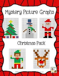 This is a set of 5 mystery pictures that are made by coloring in the correct squares on the grid using the colors and coordinates given. Each pic. Thanksgiving Activities, Christmas Activities, Math Activities, Christmas Math, Christmas Cross, Christmas Decor, Christmas Ideas, Christmas Pictures Free, Sewing Projects