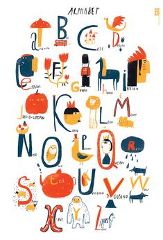 alphabet by anna sarvira Alphabet Design, Alphabet Print, Alphabet Posters, Art Mots, Alfabeto Animal, Abc Poster, Kids Prints, Graphic Illustration, Collages