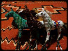 Three Beaded horse amulets