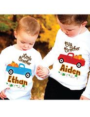 Thanksgiving Big Brother Big Sister Sibling Set Personalized Shirts | FUNKY MONKEY THREADS, #FMT, #funkymonkeythreads, #thanksgiving, #brothers