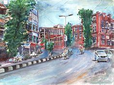Broda City, Gujarat, Water color..