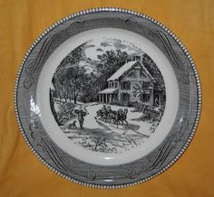 Currier and Ives Black 10 inch Pie Baking Plate by SomethingWiccan, $17.00