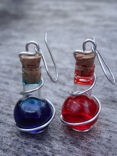 Silver Wire-Wrapped Potion Bottle Earrings - Mana Potion and Health Potion