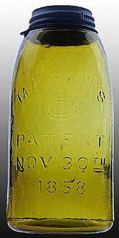 Mason's, CFJ, Patent Nov 30th 1858, Olive Amber, 12 Gallon.A half-gallon deep olive amber Mason's CFJ Patent Nov