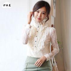 Free-Shipping-New-2013-Autumn-Winter-Korean-Ladies-Office-Fashion-Black-White-Ruffle-Long-Sleeve-Lace.jpg (800×800)