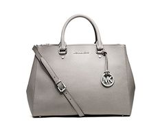 MICHAEL Michael Kors Sutton Large Satchel (Pearl Grey/Silver) * Read more reviews of the product by visiting the link on the image.