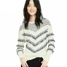 Banana Republic chevron fringe sweater BRAND NEW!  chevron pullover sweater. Black, white and gray. 70 percent cotton, 30 percent nylon. hand wash or dry clean. Banana Republic Sweaters Crew & Scoop Necks