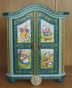 Alice in Wonderland Miniature Dollhouse Armoire Wardrobe Hand Painted Painting Miniature Furniture, Doll Furniture, Dollhouse Furniture, Shabby Chic Furniture, Hand Painted Furniture, Repurposed Furniture, Decoupage, Adventures In Wonderland, Through The Looking Glass
