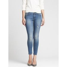 Banana Republic Womens Distressed Light Wash Skinny Ankle Jean ...