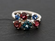Cluster Ring  Topaz Ring with Sapphires and by williamwhite