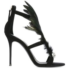 Giuseppe Zanotti Design feather embellished sandals (£810) ❤ liked on Polyvore featuring shoes, sandals, black, strappy sandals, black shoes, black strappy sandals, black stiletto sandals and leather sandals