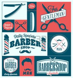 Set of vintage barber shop graphics and icons photo