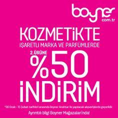 Haftaya güzel bir indirim haberiyle başlıyoruz <3  Boyner kozmetik reyonlarında ikinci ürüne %50 indirim! İşaretli marka ve ürünlerde büyük indirim fırsatı için herkes Boyner'e!