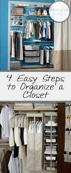 How to Organize A Closet, Small Closet Organization, How to Organize A Closet Quickly, Small Space Organization, Easy Home Organization, Easy Closet Organization, Closet Storage, Closet Storage Ideas, Popular Pin.