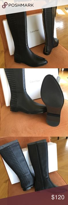 Calvin Klein Black Leather boots. (Brand New) Calvin Klein - Donnily cow silk tall black boots. Gold zipper backs with full side zip.  (Never worn) Calvin Klein Shoes Heeled Boots