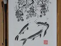 Sumi-e Tuschebild, Karpfen unter Glyzinien Japan, Etsy, Ink Paintings, Ink Drawings, Carp, Japanese