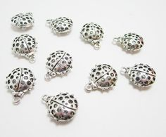 10 Hollow Silver Ladybug Charms Large 3D 4174 by WhispySnowAngel, $2.60