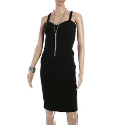 DVF - SLIPPERY  Go dressy with this classic black knee length strappy cocktail number that both flatters and exudes class. A beaded necklace with a matching bracelet and killer heels complete the look. www.brandsndeals.com